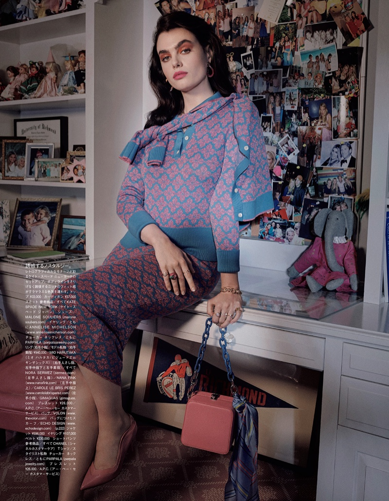Charli Howard Embraces A Retro Wardrobe for Vogue Japan